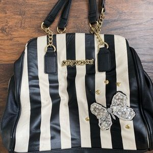 Betsey Johnson Black and White Striped Purse